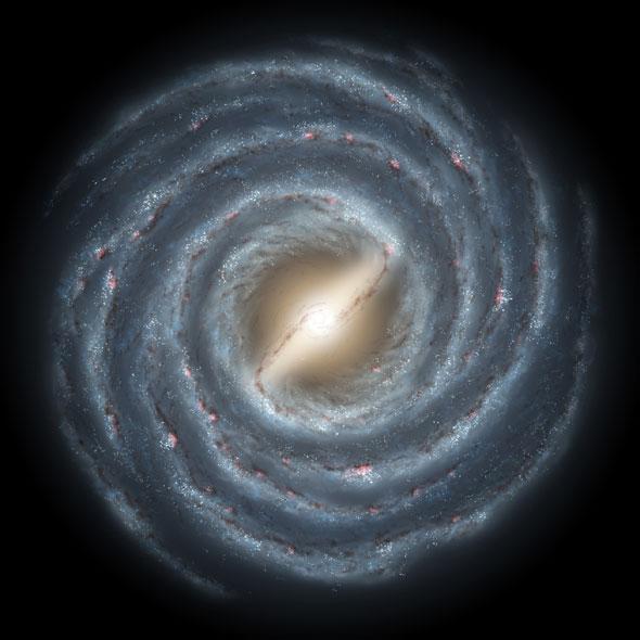 Representação artística da Via Láctea, vista do alto